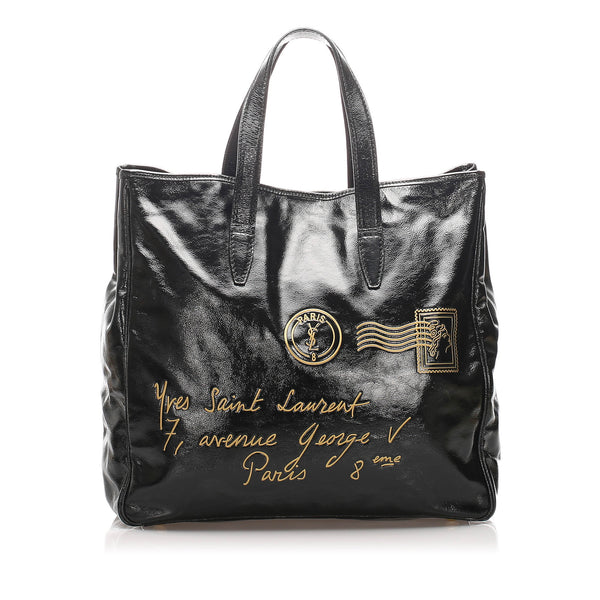 Black YSL Y Mail Patent Leather Tote Bag