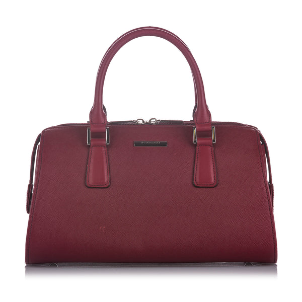Red Burberry Leather Handbag Bag