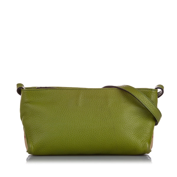 Green Burberry Leather Crossbody Bag