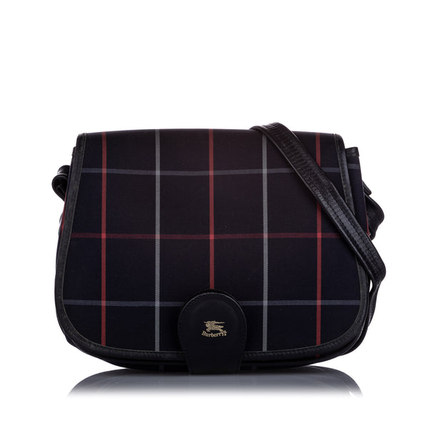 Blue Burberry Plaid Canvas Crossbody Bag