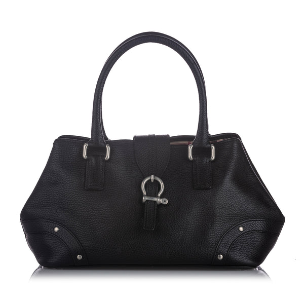 Black Burberry Leather Handbag Bag