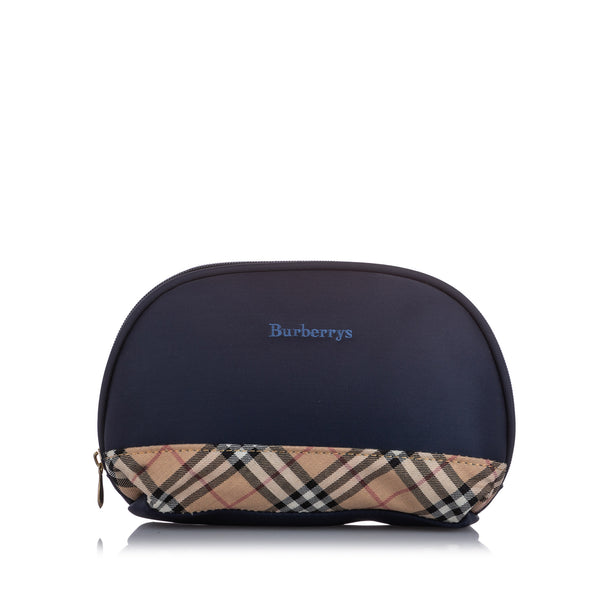 Blue Burberry Leather Pouch