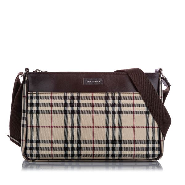 Brown Burberry House Check Canvas Crossbody Bag