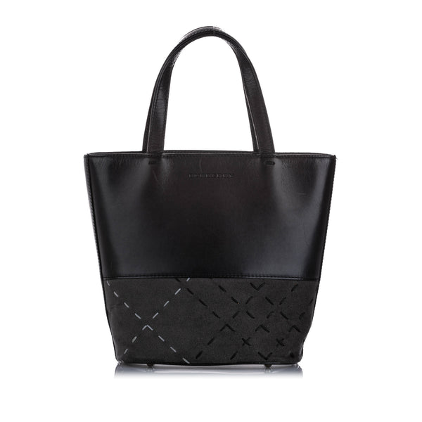 Black Burberry Leather Tote Bag