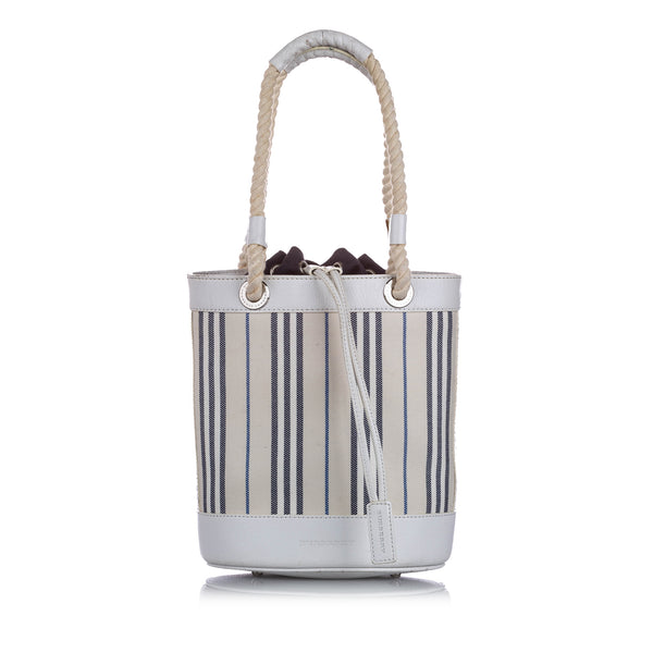 White Burberry Stripes Canvas Handbag Bag