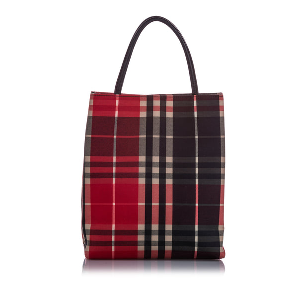 Red Burberry Plaid Canvas Tote Bag