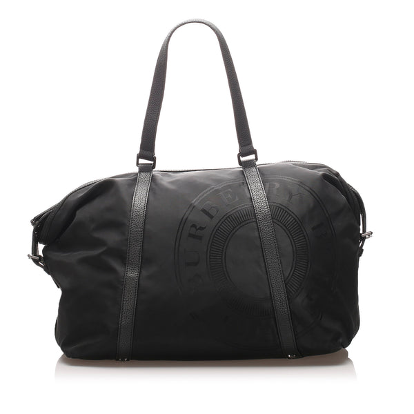 Black Burberry Nylon Travel Bag