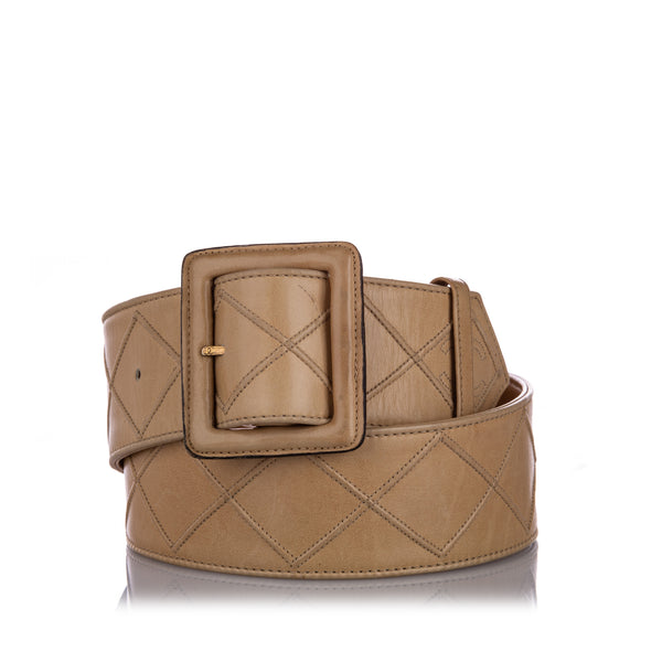 Brown Chanel Quilted Lambskin Leather Belt