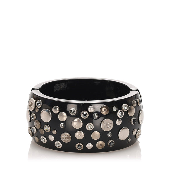 Black Chanel CC Rhinestone Studded Bangle