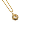 Gold Chanel Rhinestone Medallion Pendant Chain Necklace
