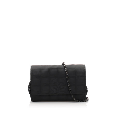 Black Chanel New Travel Line Canvas Wallet On Chain