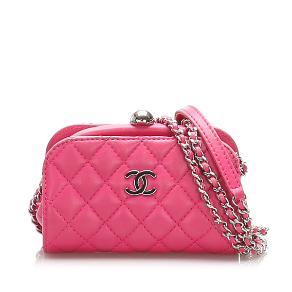 Pink Chanel CC Lambskin Leather Crossbody Bag