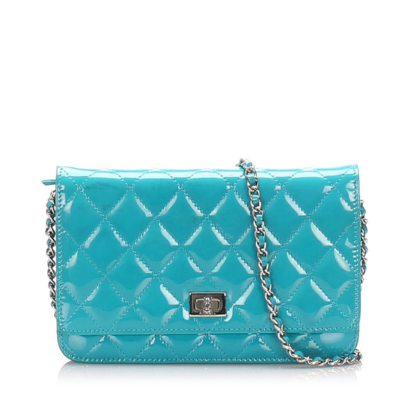 Blue Chanel Reissue Quilted Patent Leather Wallet on Chain Bag