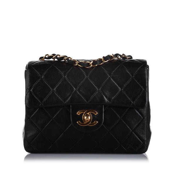 Black Chanel Mini Classic Square Lambskin Leather Single Flap Bag