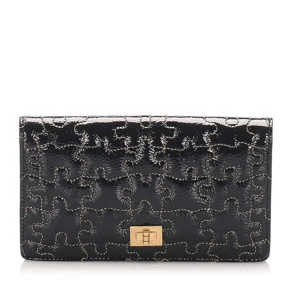 Black Chanel Puzzle 2.55 Patent Leather Long Wallet