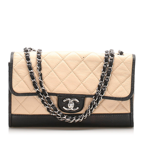 Beige Chanel Quilted CC Single Flap Leather Shoulder Bag