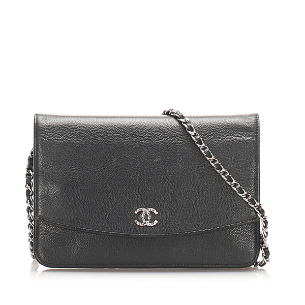 Black Chanel CC Caviar Wallet on Chain
