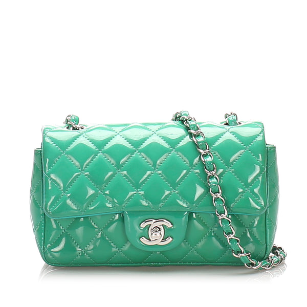 Green Chanel Classic New Mini Patent Leather Flap Bag