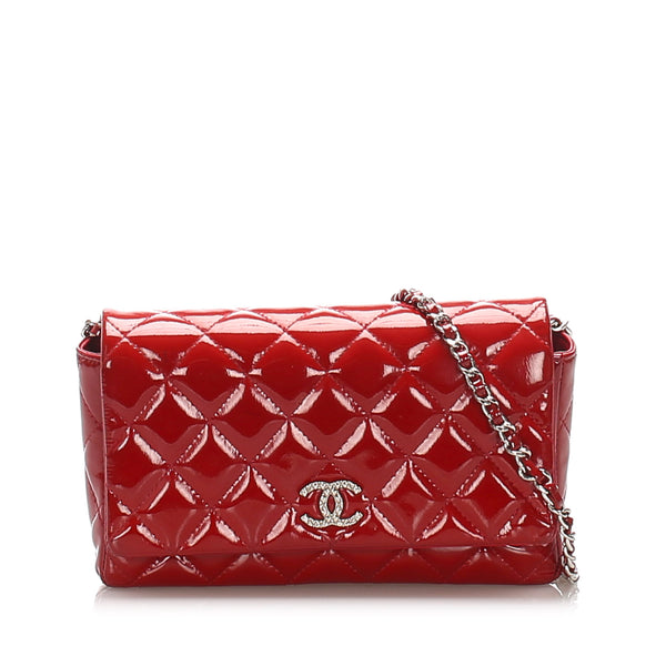 Red Chanel CC Quilted Patent Leather Wallet on Chain Bag