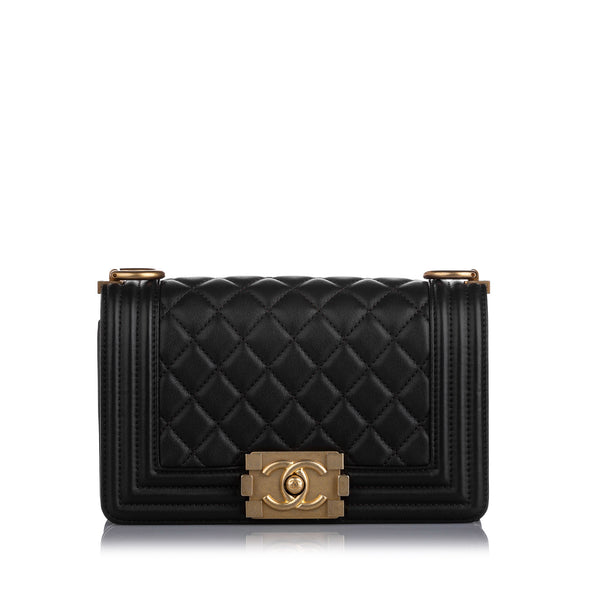 Black Chanel Small Boy Lambskin Leather Flap Bag