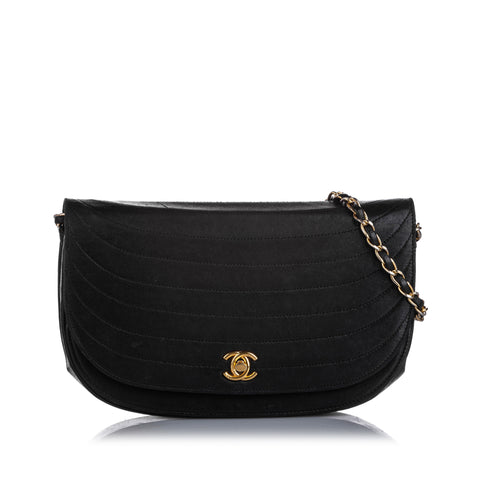 Black Chanel Quilted Half Moon Lambskin Leather Flap Bag