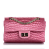 Pink Chanel Reissue Croc Stitch Satin Double Flap Bag