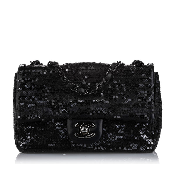 Black Chanel New Mini Sequined Single Flap Bag