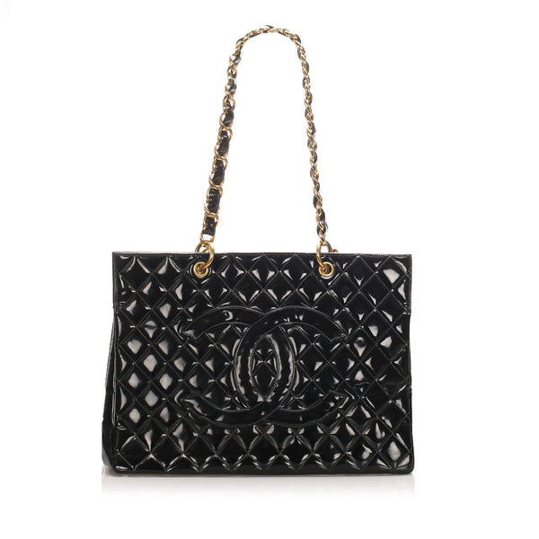 Black Chanel Matelasse Patent Leather Tote Bag