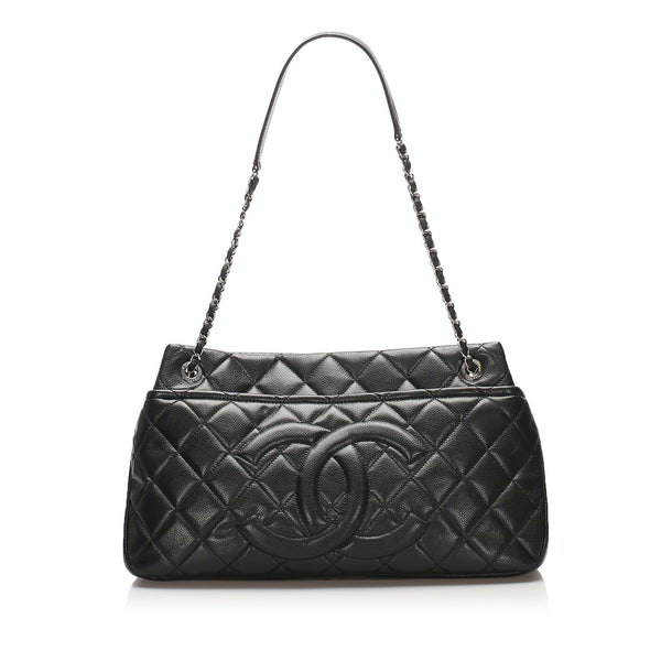 Black Chanel Caviar Shopping Tote Bag
