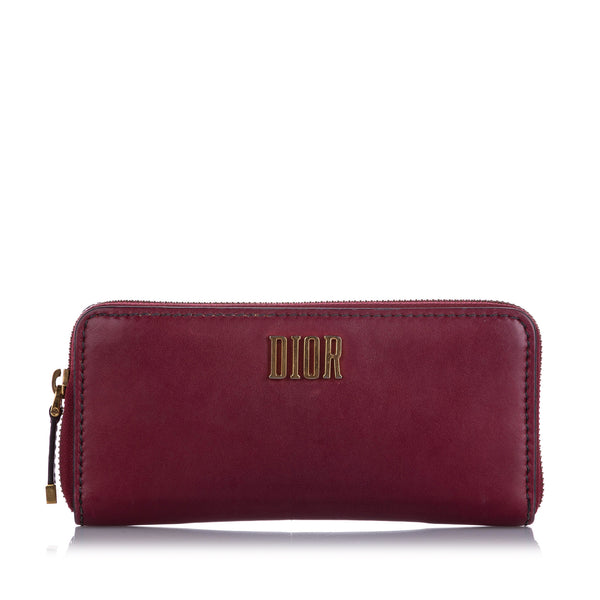 Red Dior Leather Long Wallet