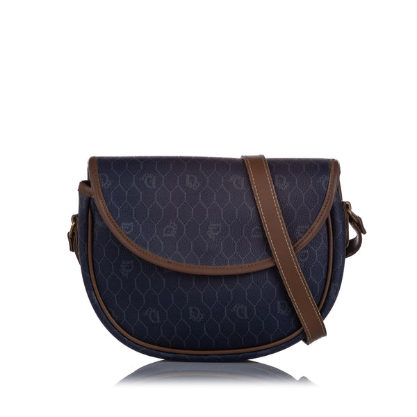 Blue Dior Honeycomb Coated Canvas Crossbody Bag
