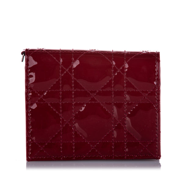Red Dior Cannage Patent Leather Wallet