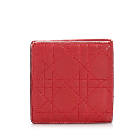 Red Dior Cannage Leather Wallet