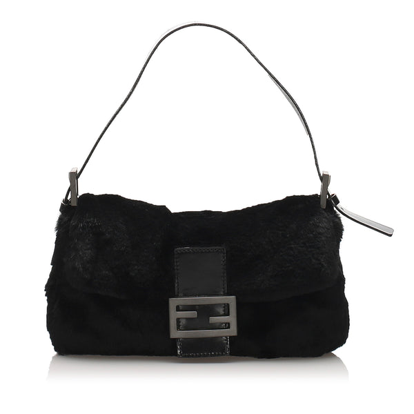 Black Fendi Fur Mamma Baguette