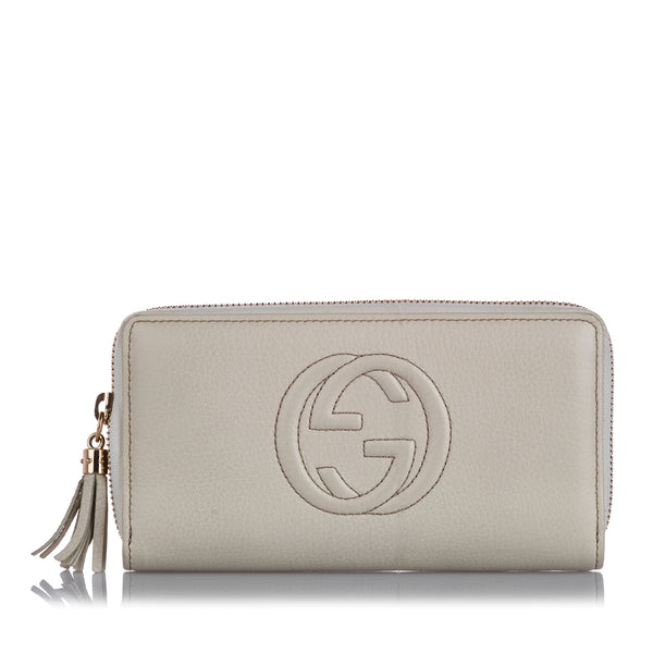 White Gucci Soho Leather Long Wallet
