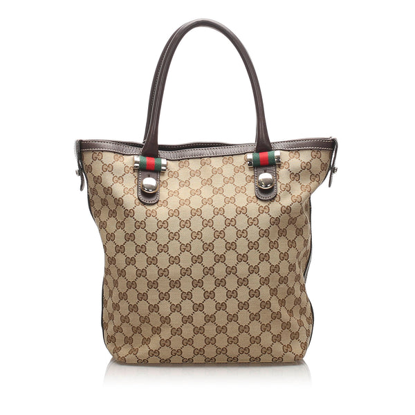 Brown Gucci GG Canvas Match Ball Tote Bag