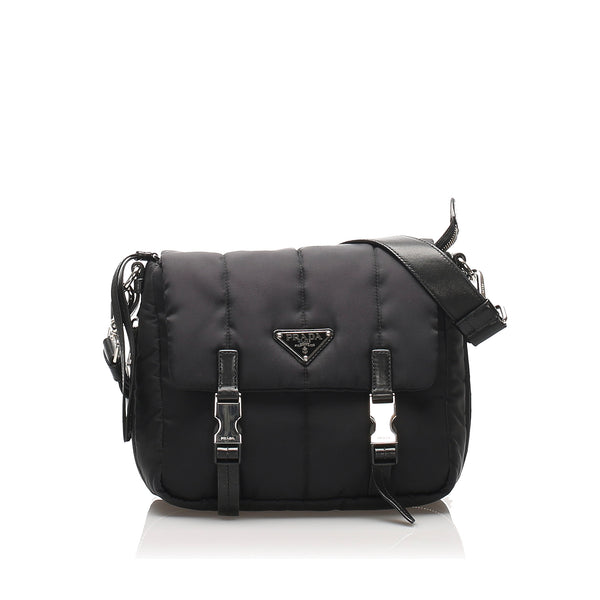 Black Prada Tessuto Bomber Crossbody Bag