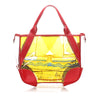 Yellow Prada Printed Vinyl Tote Bag