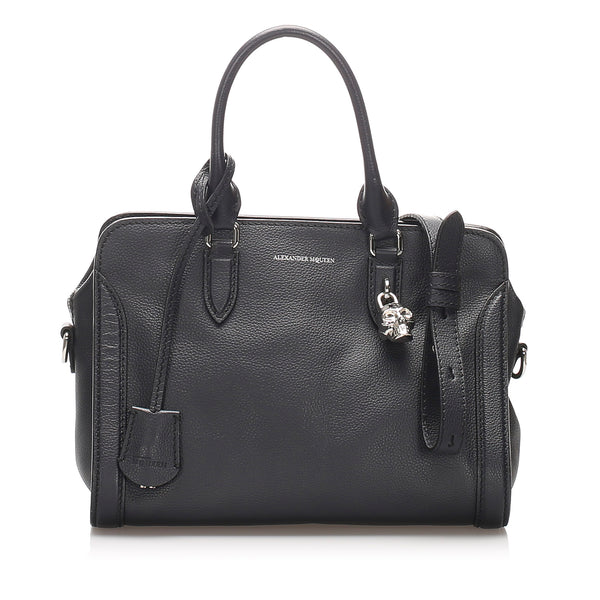 Black Alexander McQueen Skull Padlock Leather Satchel Bag