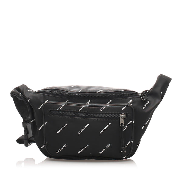 Black Balenciaga Explorer Nylon Belt Bag
