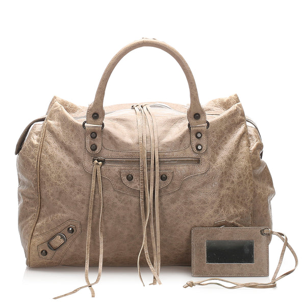 Gray Balenciaga Motocross Classic Midday Leather Handbag Bag