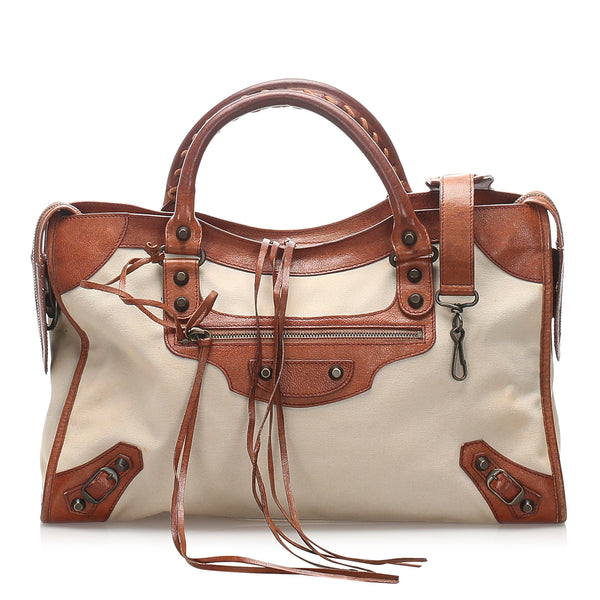 Brown Balenciaga Motocross Classic City Canvas Handbag Bag
