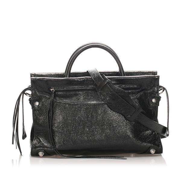 Black Balenciaga Mute City Giant Leather Satchel Bag