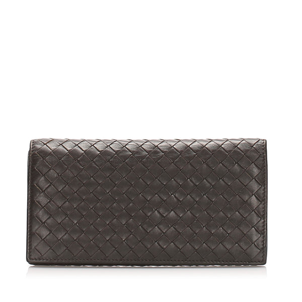 Brown Bottega Veneta Intrecciato Leather Bifold Wallet