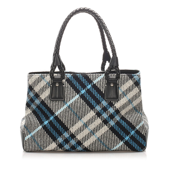 Blue Burberry Plaid Wool Handbag Bag