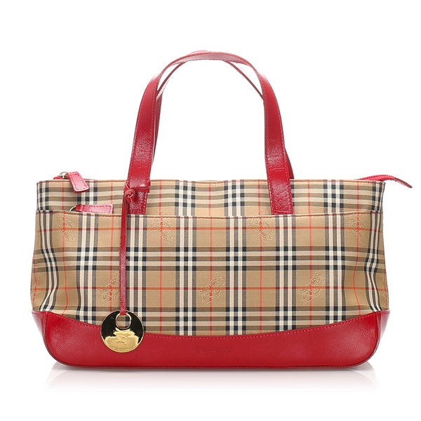 Brown Burberry Haymarket Check Canvas Handbag Bag