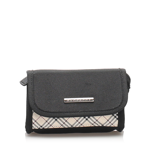 Black Burberry Nova Check Canvas Pouch