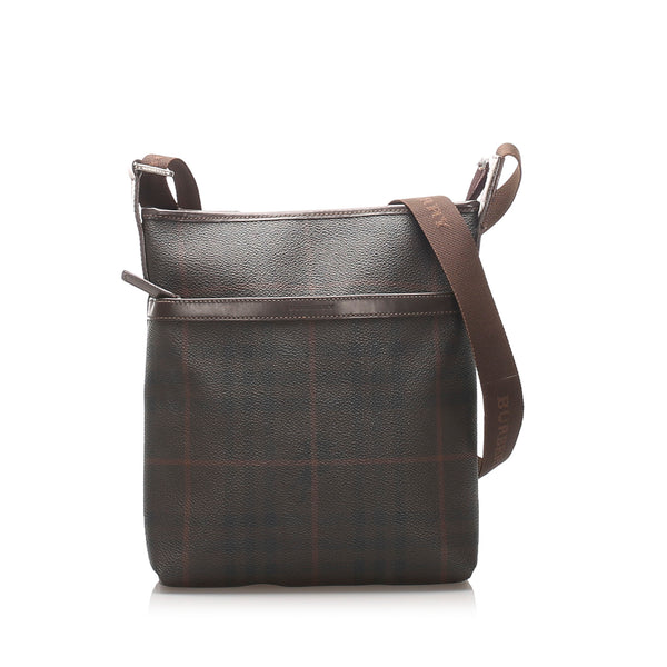 Brown Burberry Smoke Check Coated Canvas Crossbody Bag