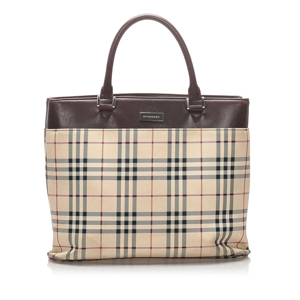 Brown Burberry House Check Nylon Tote Bag