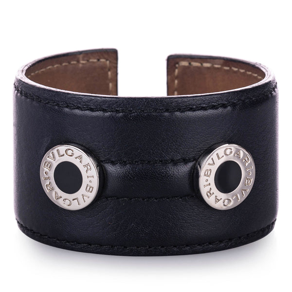Black Bvlgari Leather Cuff